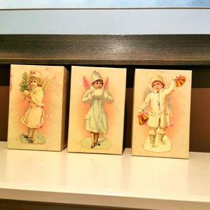 3 vintage Costco Victorian child angel boy Christmas ornaments